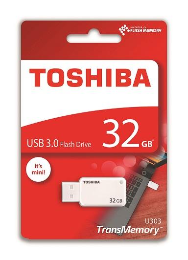 32 GB . USB 3.0 kľúč . TOSHIBA - TransMemory biely