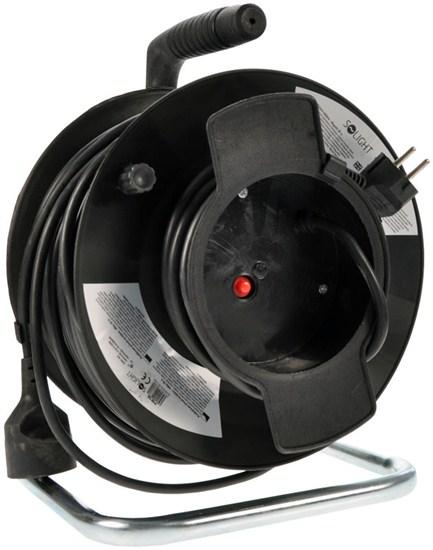 Solight predlžovací prívod na bubne, 1 zásuvka, čierny, 50m