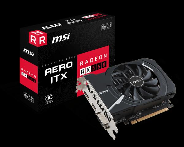 MSI Radeon RX 560 AERO ITX 4G OC, 4G GDDR5, DP, HDMI, DVI