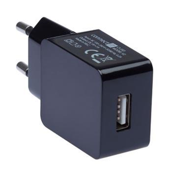 CONNECT IT COLORZ nabíjací adaptér 1xUSB 1A, čierny