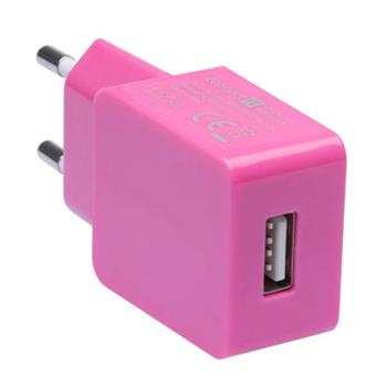CONNECT IT COLORZ nabíjací adaptér 1xUSB 1A, ružový