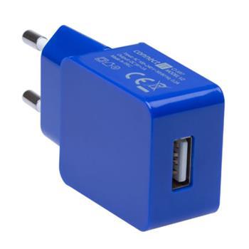 CONNECT IT COLORZ nabíjací adaptér 1xUSB 1A, modrý