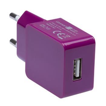 CONNECT IT COLORZ nabíjací adaptér 1xUSB 1A, fialový