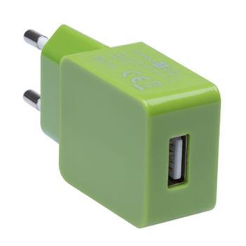 CONNECT IT COLORZ nabíjací adaptér 1xUSB 1A, zelený