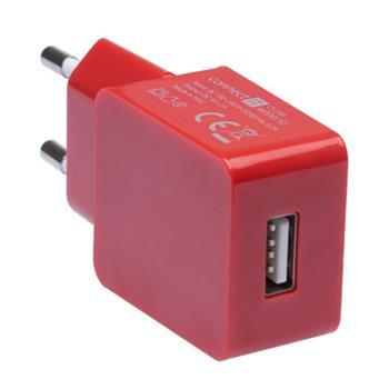 CONNECT IT COLORZ nabíjací adaptér 1xUSB 1A, červený