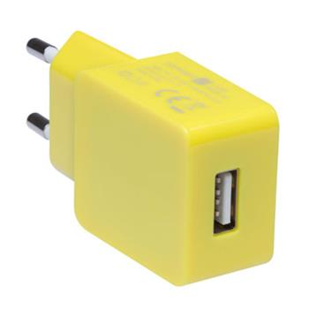 CONNECT IT COLORZ nabíjací adaptér 1xUSB 1A, žltý
