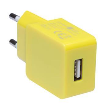 CONNECT IT COLORZ nabíjací adaptér 1xUSB 1A, žltý
