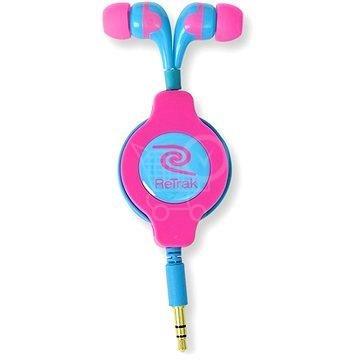 ReTrak Neon rúžovo-modré navíjacie slúchadla 1.2m