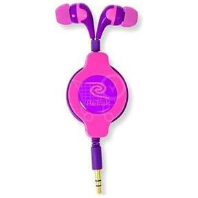 ReTrak Neon rúžovo-fialové navíjacie slúchadla 1.2m