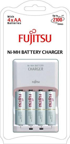 Fujitsu nabíjačka + 4x prednabité batérie R06/AA, 2100 cyklov, blister