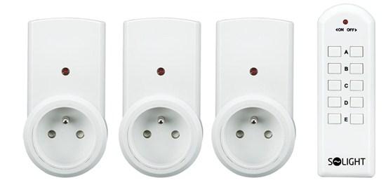 Solight diaľkovo ovládané zásuvky, 3 zásuvky, 1 ovládač