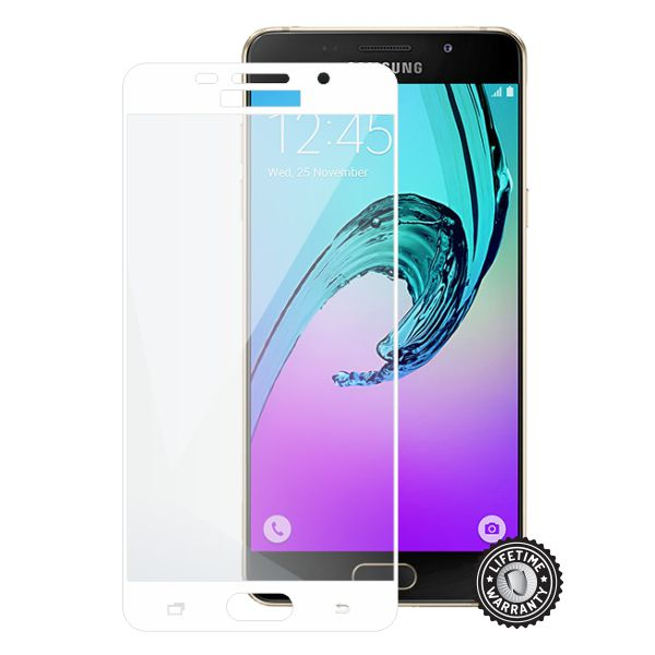 Screenshield SAMSUNG A510 Galaxy A5 (2016) Tempered Glass protection (full COVER WHITE metalic frame) - Film for display