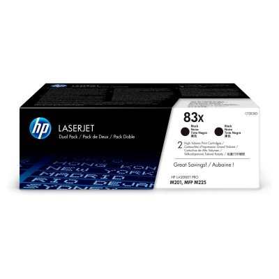 HP 83X 2-pack High Yield Black Original LaserJet Toner Cartridges (CF283XD)