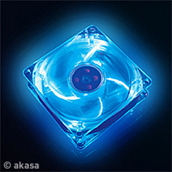 AKASA LED Case FUN - 8cm vetrák, LED modrý