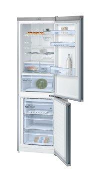 BOSCH_Chladnička/mraznička 186 cm, chlad. 237l, mraz. 87l, 173 kWh/365 dní, LCD-displej, NoFrost, VitaFresh, A+++, inox