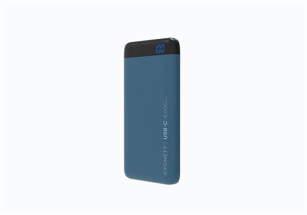 Cygnett ChargeUp Pro Polymer Digital Powerbank 6.000mAh, USB-C 15Wvstup, dual USB (USB-C a USB-A) 3A/15W výstup, modrá