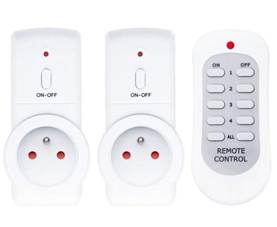 Solight diaľkovo ovládané zásuvky set 2 + 1, 2 zásuvky, 1 ovládač, learning code