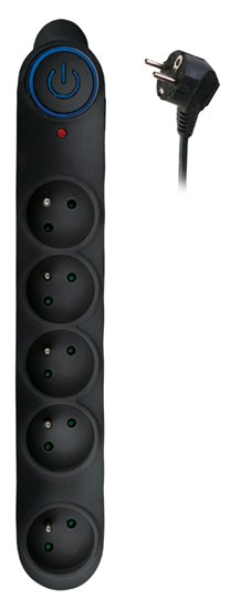 Solight prepäťová ochrana, 150J, 5 zásuviek, 1,5m, čierna