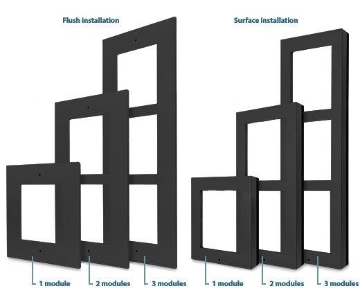2N Helios IP Verso Rám pro instalaci do zdi, 3 moduly - černý