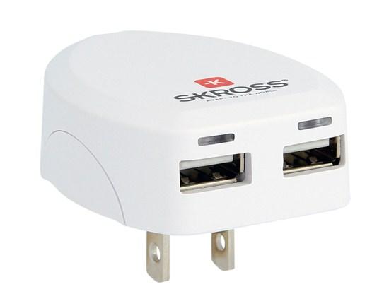 SKROSS USB nabíjací adaptér USA, 2400mA, 2x USB výstup