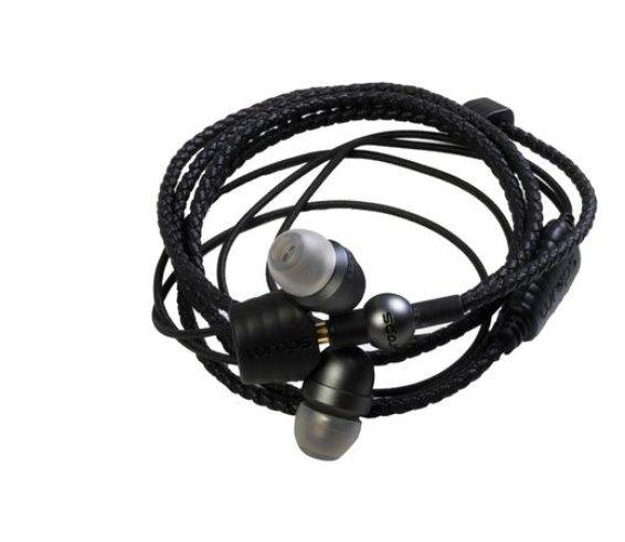 MIDBASS WRAPS Core- titánové slúchadlá do uší s mikrofónom / náramok - čierna koža, slúchadlá šedé