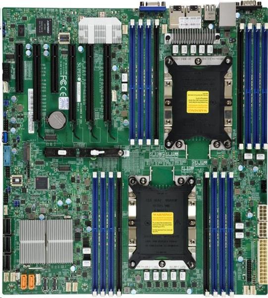 Supermicro2xLGA3647, iC621, 16x DDR4 ECC, 14xSATA3, 2xNVMe, 1xM.2, PCI-E 3.0/4,2(x16,x8),2x 10Gb LAN,IPMI
