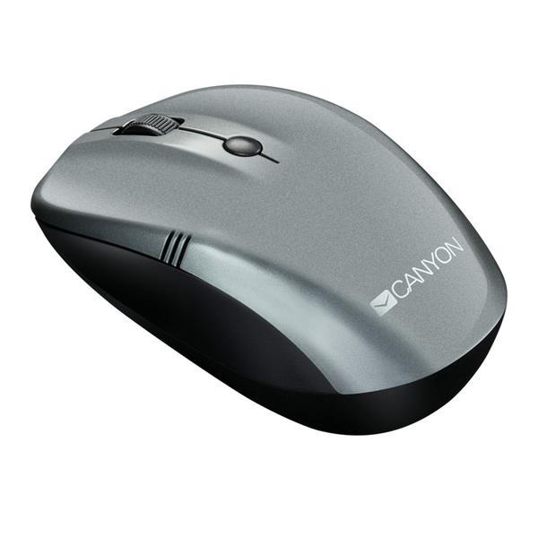 Canyon CNE-CMSW03DG, Wireless optická myš, USB, 1000/1200/1600 dpi, 2x AAA, dlhá výdrž, tmavo šedá