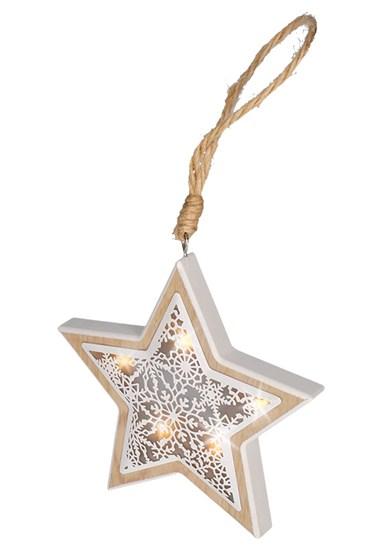Solight LED drevená vianočná hvezda, drevený dekor, 6LED, teplá biela, 2x AAA