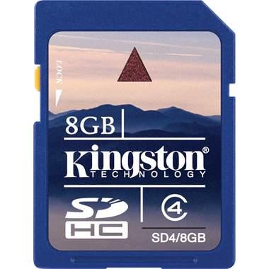 8 GB . SDHC karta Kingston . Class 4 (r/w 4MB/s)