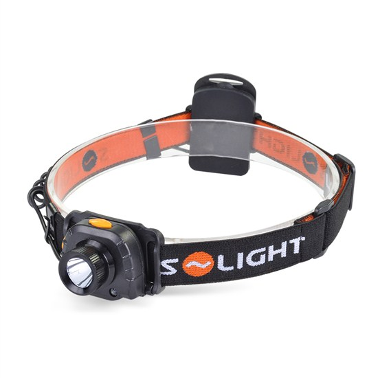 Solight čelové LED svietidlo so senzorom, 3W Cree, čierne, 3 x AAA