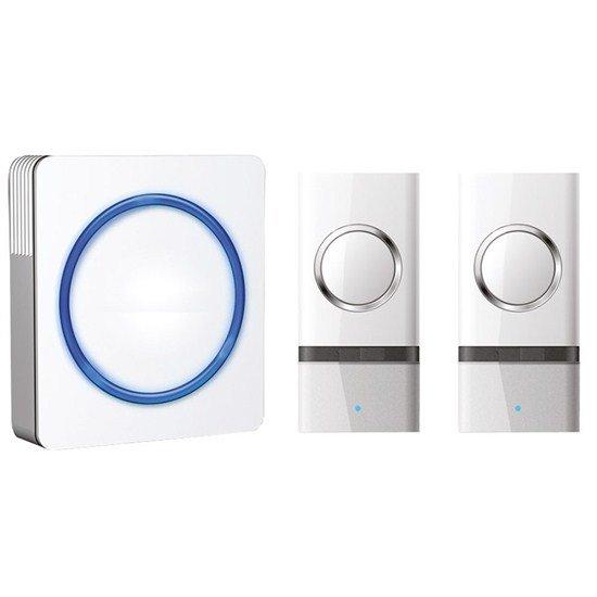 Solight bezdrôtový zvonček, 2 tlačidlá, do zásuvky, 120m, biely