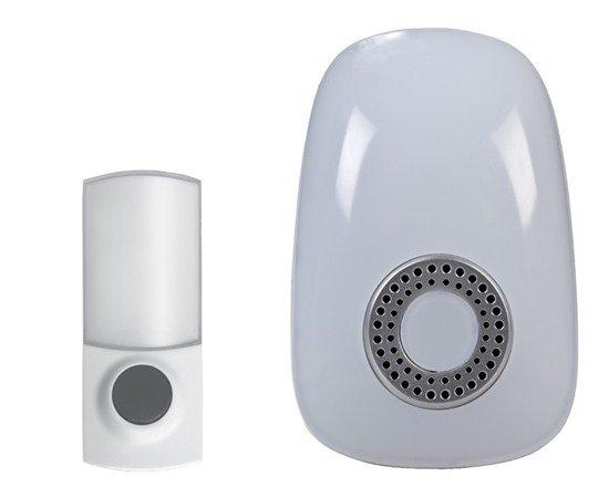 Solight bezdrôtový zvonček, do zásuvky, 150m, biely, svetelná signalizácia, learning code