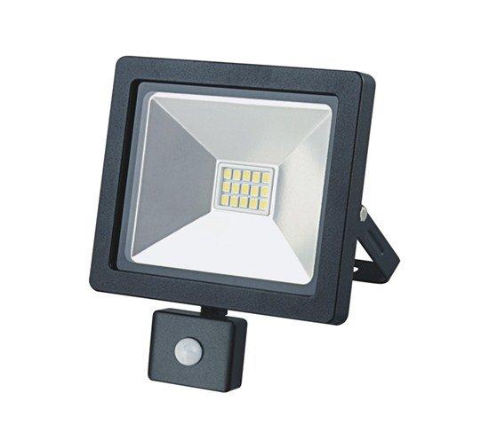 Solight LED vonkajší reflektor SLIM, 10W, 700lm, 3000K, se senzorom, čierny