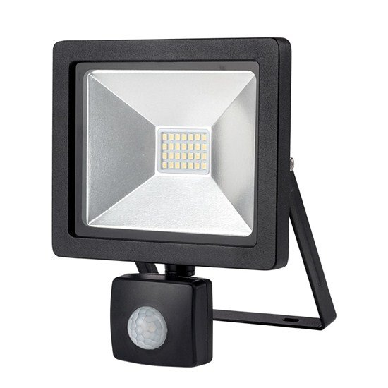 Solight LED vonkajší reflektor SLIM, 20W, 1400lm, 3000K, se senzorom, čierny