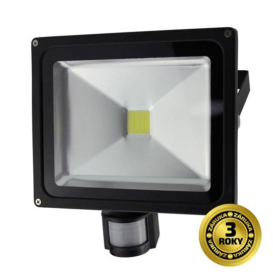 Solight LED vonkajší reflektor, 30W, 2400lm, AC 230V, čierna, so senzorom