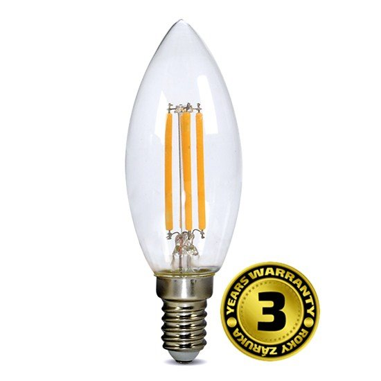 Solight LED žiarovka retro, sviečka 4W, E14, 3000K, 360°, 440lm