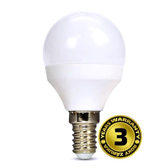 Solight LED žiarovka, miniglobe, 6W, E14, 3000K, 450lm, biele prevedenie