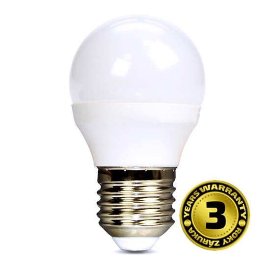 Solight LED žiarovka, miniglobe, 6W, E27, 6000K, 450lm