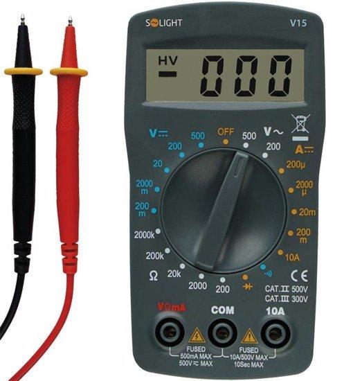 Solight multimeter, test diódy, ochrana proti preťaženiu, bzučiak