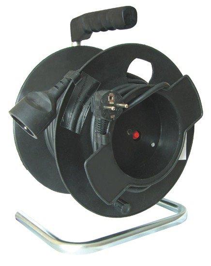 Solight predlžovací prívod na bubne, 1 zásuvka, čierny, 25m