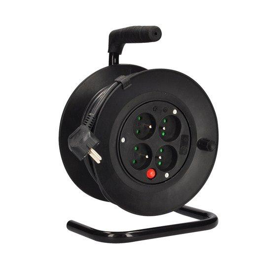 Solight predlžovací prívod na bubne, 4 zásuvky, čierny kábel 3x 1,0mm2, 15m