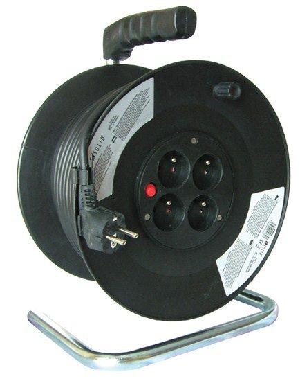 Solight predlžovací prívod na bubne, 4 zásuvky, čierny, 25m