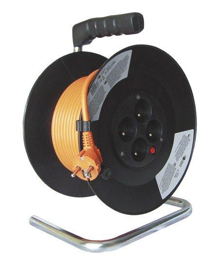 Solight predlžovací prívod na bubne, 4 zásuvky, oranžový kábel, čierny bubon, 20m