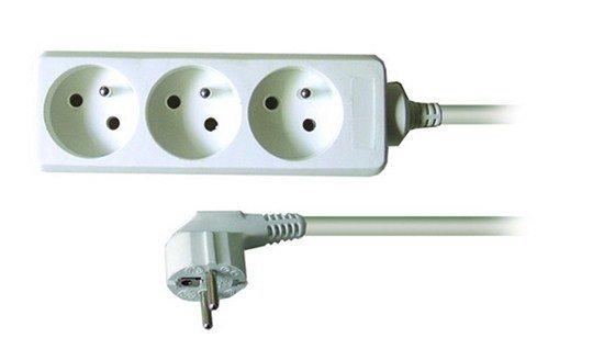 Solight predlžovací prívod, 3 zásuvky, biely, 7m