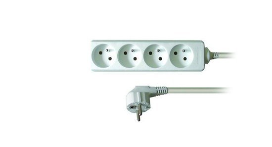Solight predlžovací prívod, 4 zásuvky, biely, 3m