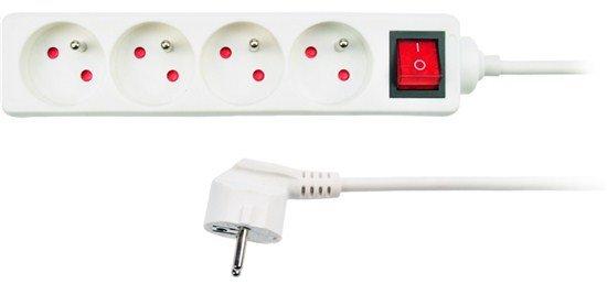 Solight predlžovací prívod, 4 zásuvky, biely, vypínač, 1,5m