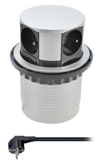 Solight predlžovací prívod, 4 zásuvky, strieborný, 1,5m, výsuvný blok zásuviek, kruhový tvar