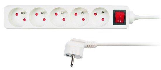 Solight predlžovací prívod, 5 zásuviek, biely, vypínač, 3m