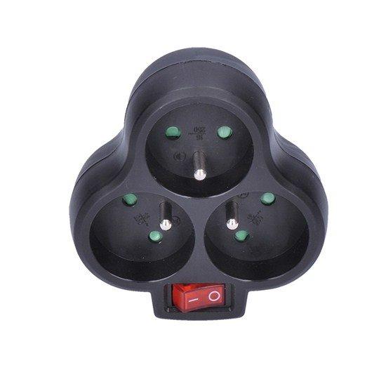 Solight rozbočovač, 3 x 10A, čierny, vypínač