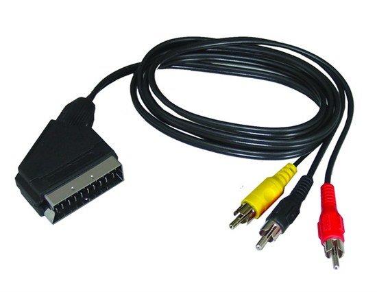 Solight SCART kábel, SCART konektor - 3x CINCH konektor, prepínateľný, 1m, sáčok